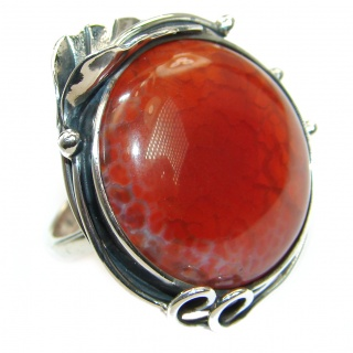 Genuine 58 ct Mexican Fire Agate .925 Sterling Silver handmade Cocktail Ring s. 7 adjustable