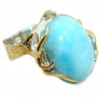 Treasure Blue Larimar two tones .925 Sterling Silver handmade ring s. 8