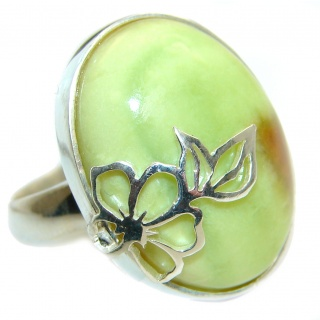 Natural Beauty Green Opal .925 Sterling Silver handcrafted ring s. 8 adjustable