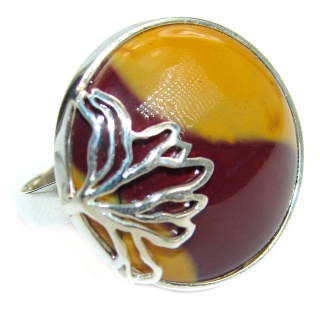 Flawless Australian Mookaite .925 Sterling Silver Ring size 7 adjustable