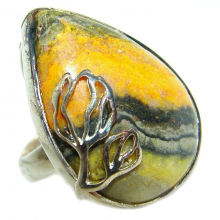 Vivid Beauty Bumble Bee Jasper .925 Sterling Silver ring s. 8