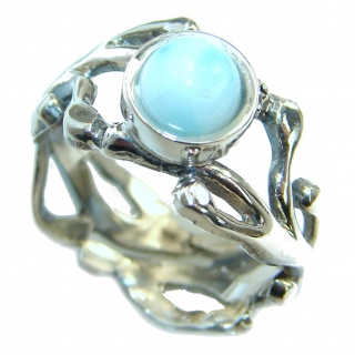 Natural flawless Larimar .925 Sterling Silver handcrafted Ring s. 8 adjustable