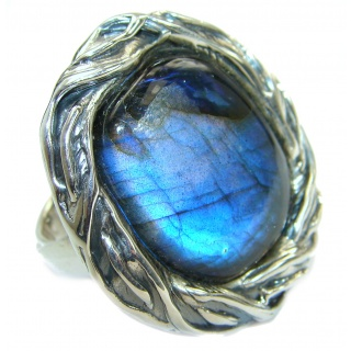 Large Fire Labradorite .925 Sterling Silver handmade ring size 8 adjustable