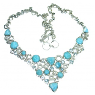 Luxury Larimar Swiss Blue Topaz .925 Sterling Silver handcrafted necklace