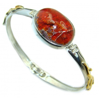 Enchanted Forest Mexican Opal 14K Gold over .925 Sterling Silver handcrafted Bracelet / Cuff