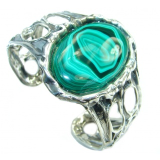 Stunning genuine Malachite .925 Sterling Silver handcrafted Bracelet / Cuff