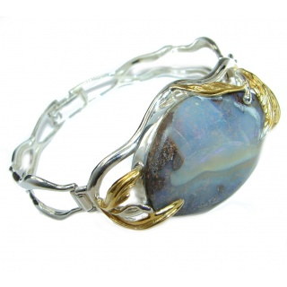 Norwegian Northern Lights Boulder Opal 14K Gold over .925 Sterling Silver Bracelet / Cuff