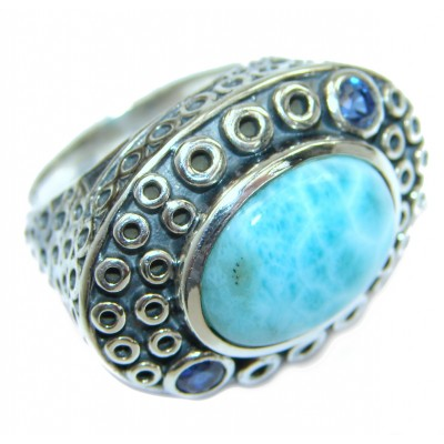 Treasure Blue Larimar Kyanite .925 Sterling Silver handmade ring s. 6 1/4