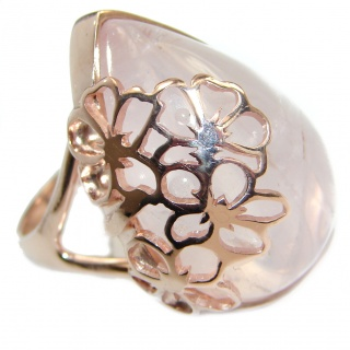 Best Quality Rose Quartz 14K Golod over .925 Sterling Silver ring s. 8 3/4