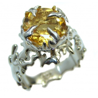 Dramatic Design genuine Citrine .925 Sterling Silver handmade Cocktail Ring s. 7