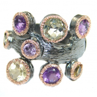 Dramatic Design genuine Citrine Amethyst .925 Sterling Silver handmade Cocktail Ring s. 8