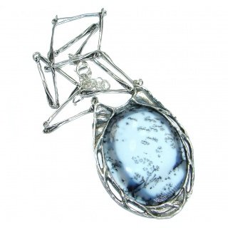 Oversized genuine Dendritic Agate .925 Sterling Silver handcrafted necklace
