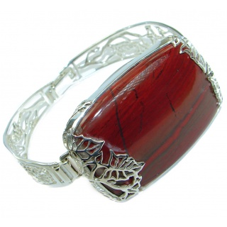 One of the kind Red Jasper Oxidized .925 Sterling Silver handcrafted Bracelet