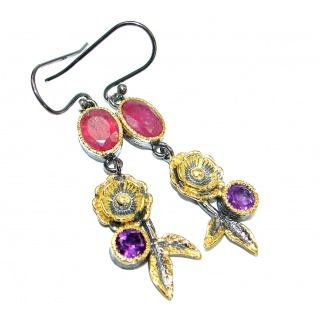 Pure Joy Ruby 14K Gold Rhodium over .925 Sterling Silver handmade earrings