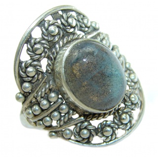 Fire Labradorite .925 Sterling Silver handmade ring size 9