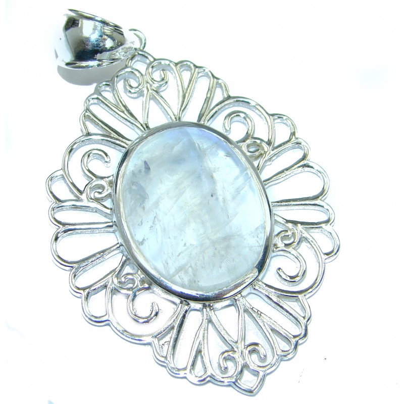 Fire Moonstone oxidized .925 Sterling Silver handmade Pendant