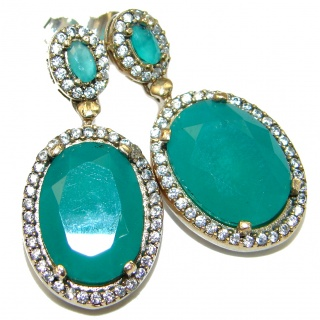 Bohemian Style creted Emerald .925 Sterling Silver handcrafted Earrings
