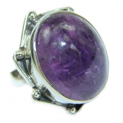 Vintage Style Amethyst .925 Sterling Silver handmade Cocktail Ring s. 7 1/4