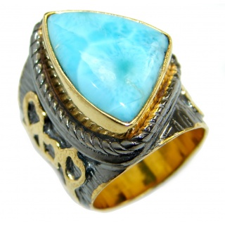 Treasure Blue Larimar two tones .925 Sterling Silver handmade ring s. 7 1/4