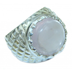 Best Quality Rose Quartz .925 Sterling Silver handcrafted ring s. 7 1/4