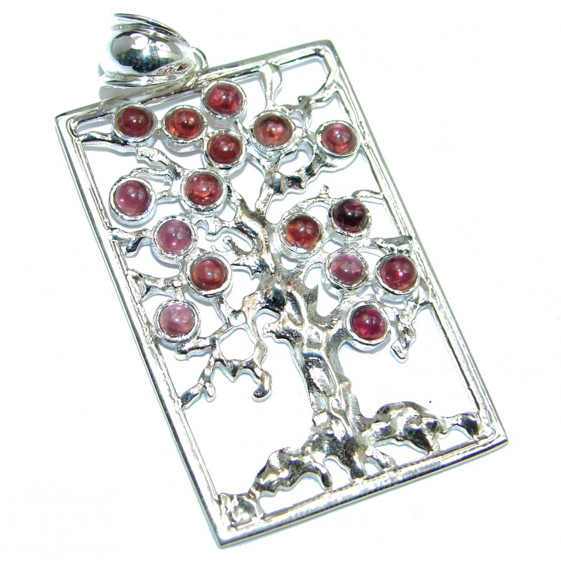 Perfect Family Tree Natural Garnet .925 Sterling Silver Pendant