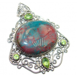 Vintage Design Moss Agate .925 Sterling Silver handcrafted Pendant
