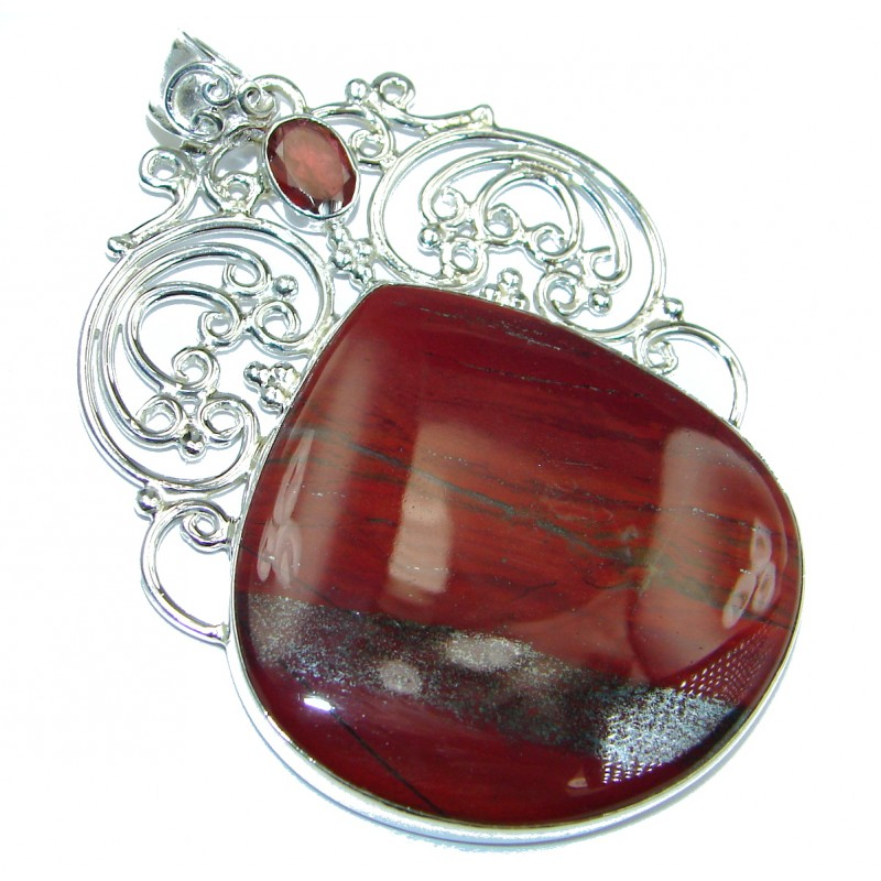 Incredible quality Iron Red Jasper .925 Sterling Silver handmade Pendant