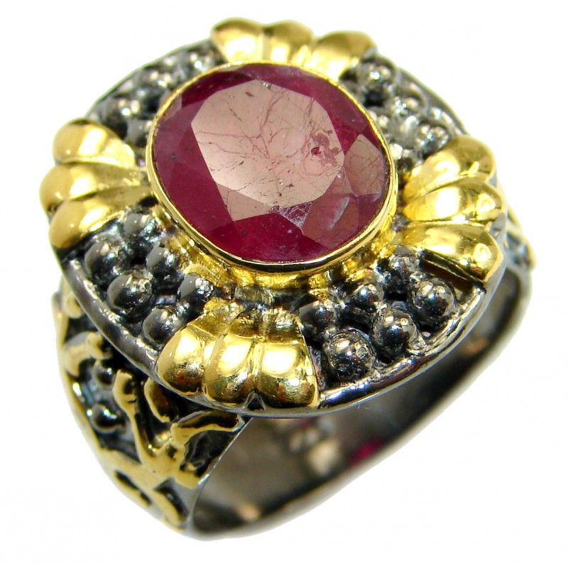 Large genuine Ruby 14K Gold over .925 Sterling Silver Statement ring; s. 7 1/4
