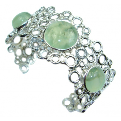 Great Design Genuine Moss Prehnite .925 Sterling Silver Bracelet / Cuff