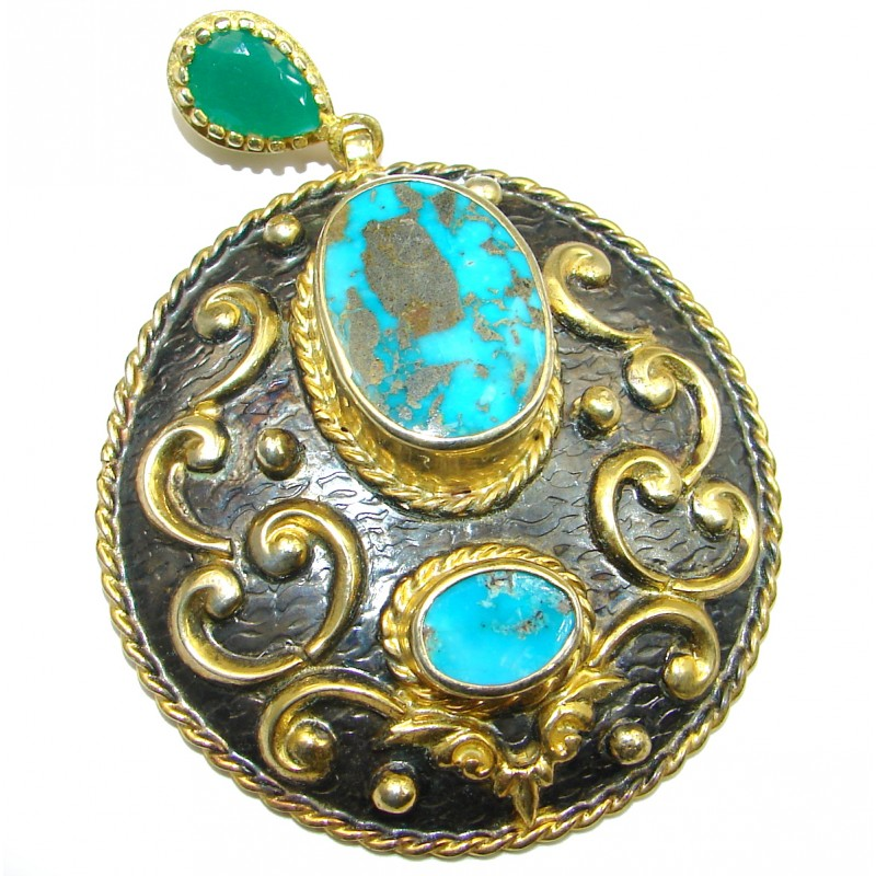 Exquisite Sleeping Beauty Turquoise Gold over .925 Sterling Silver handmade Pendant