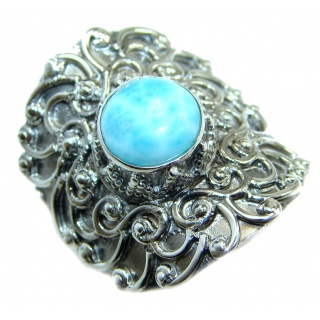 Treasure Blue Larimar .925 Sterling Silver handmade ring s. 8 adjustable