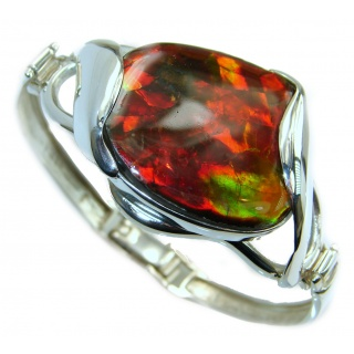 One in the World Natural Ammolite .925 Ammolite Sterling Silver Bracelet / Cuff