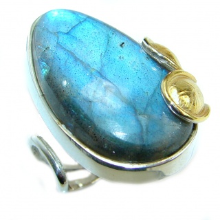 Large Fire Labradorite two tones .925 Sterling Silver handmade ring size 8 adjustable