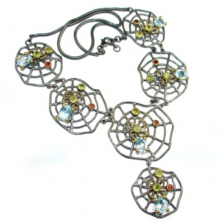 Huge Spider's Web genuine Swiss Blue Topaz 18 ct Gold Rhodium over .925 Sterling Silver handcrafted necklace