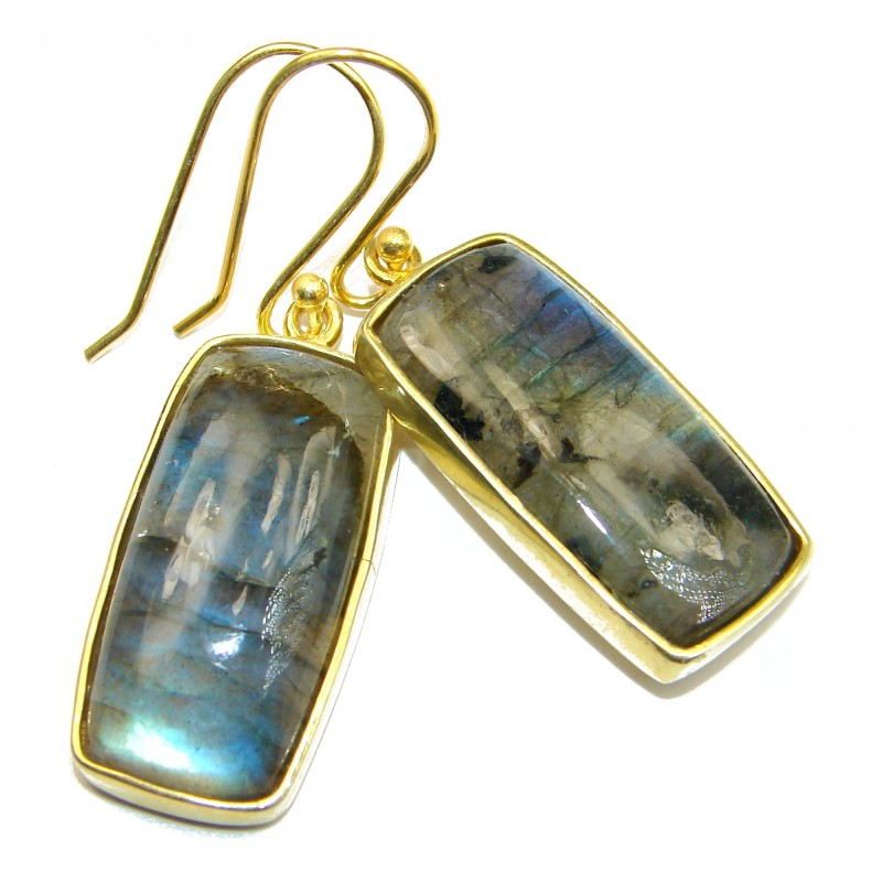 Genuine Labradorite 18K Gold Rhodium over .925 Sterling Silver earrings