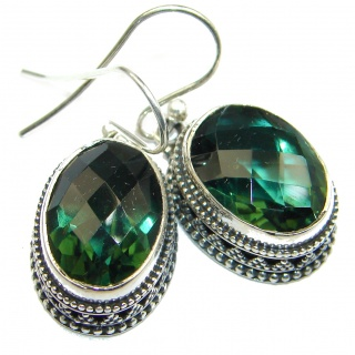 Perfect Emerald color Quartz .925 Sterling Silver handmade earrings