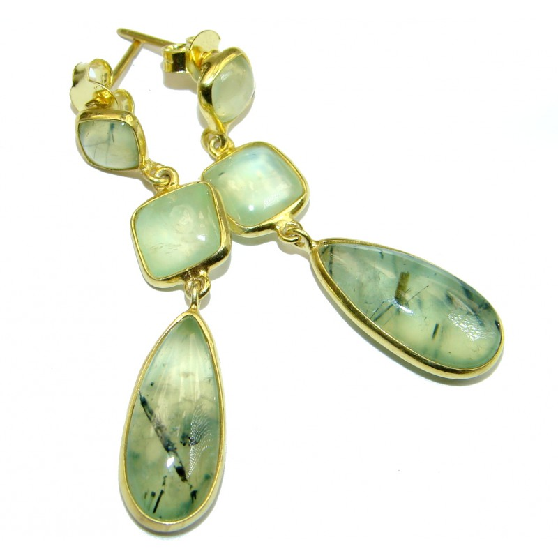 Authentic Moss Prehnite Gold plated over .925 Sterling Silver handmade stud earrings