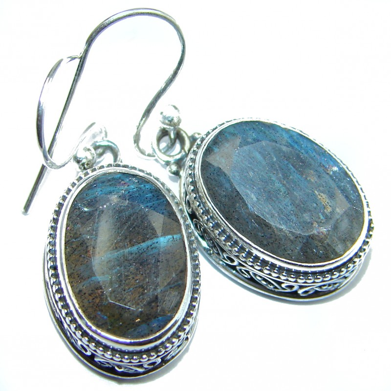 Perfect Labradorite .925 Sterling Silver handmade earrings
