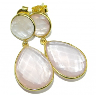 Enchanted Beauty genuine Rose Quartz 14K Gold over .925 Sterling Silver handmade earrings