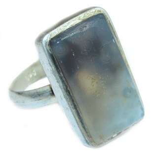Natural Moss Agate .925 Sterling Silver handmade Cocktail Ring s. 10 1/4