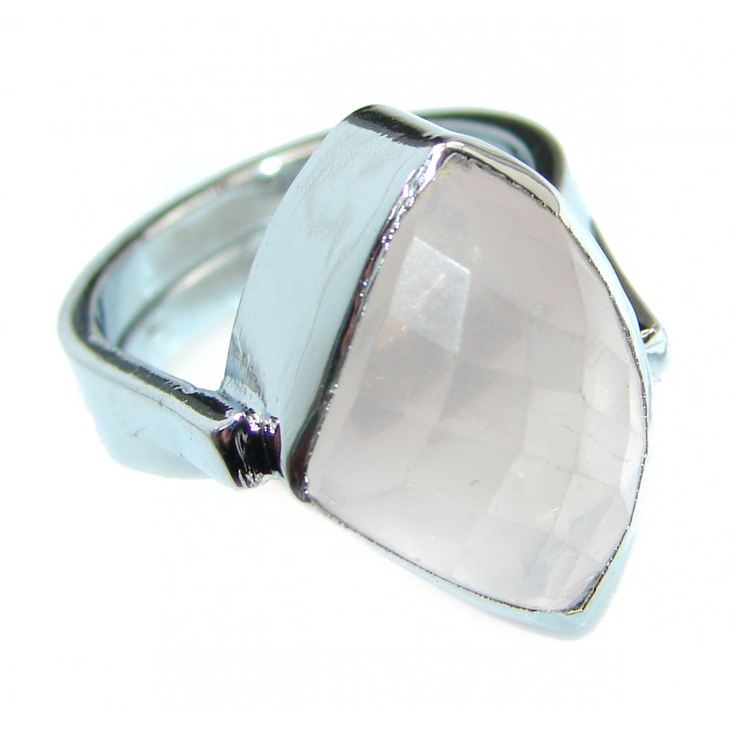 Best Quality Rose Quartz .925 Sterling Silver handcrafted ring s. 7