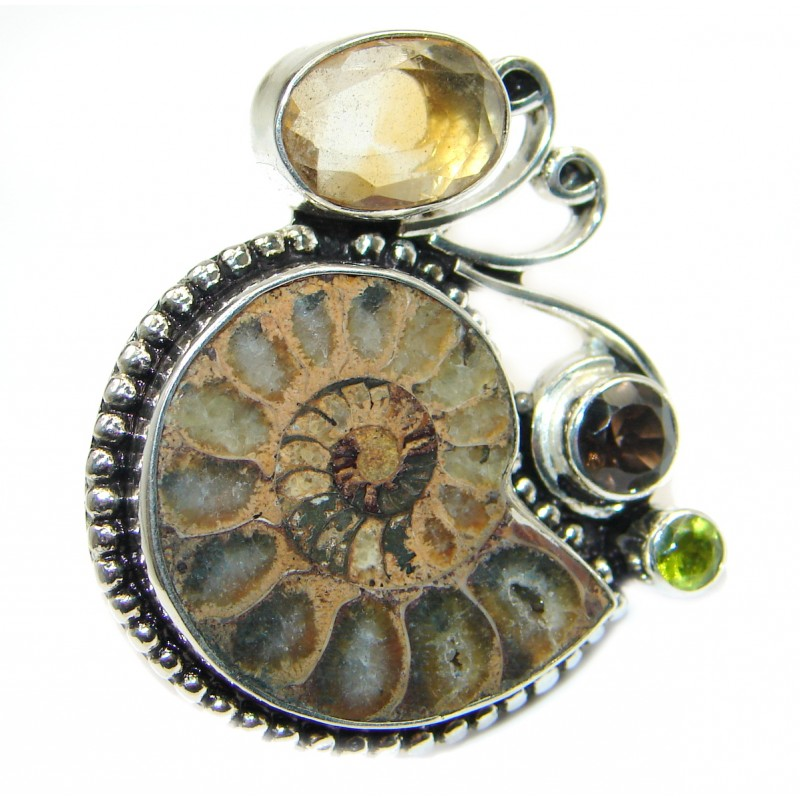 Stylish Brown Ammonite Fossil Sterling Silver Ring s. 7