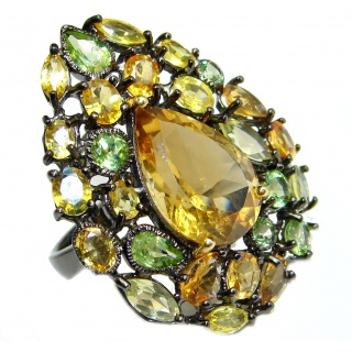 Majestic Authentic Citrine Peridot Black Rhodium over .925 Sterling Silver handmade Statement Ring s. 8