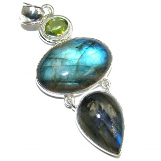 True Power genuine Fire Labradorite .925 Sterling Silver handmade Pendant