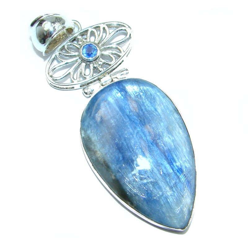 Genuine 50 ct African Kyanite .925 Sterling Silver handmade Pendant