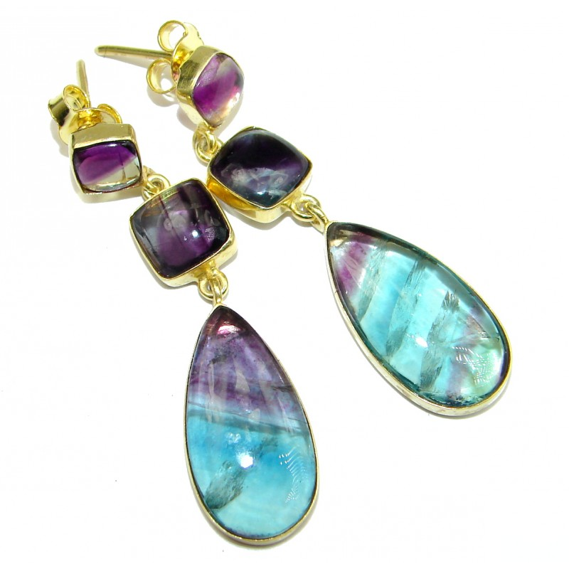 Exclusive genuine Fluorite 14K Gold over .925 Sterling Silver handcrafted earrings