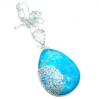 Emily Blue Sea Sediment Jasper oxidized .925 Sterling Silver handmade necklace
