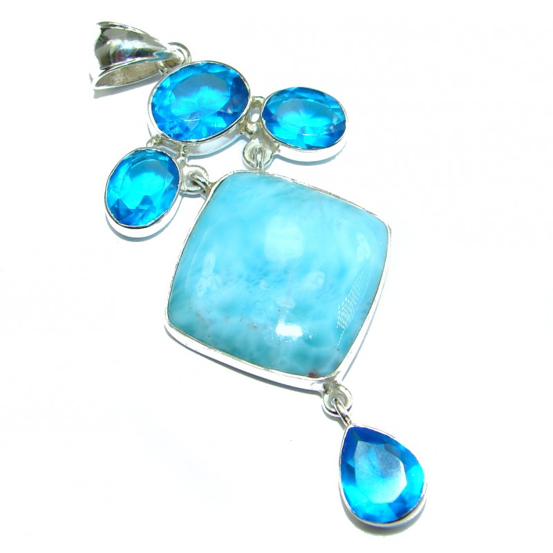 Blue Power genuine Larimar .925 Sterling Silver handmade pendant
