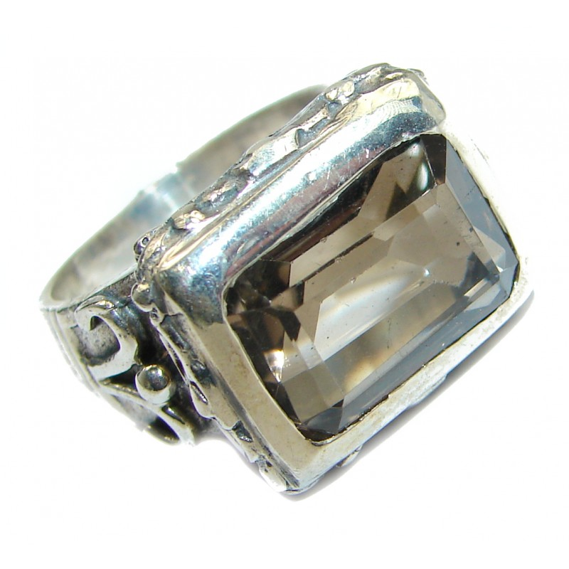 Vintage Style Smoky Topaz .925 Sterling Silver handmade Cocktail Ring s. 7