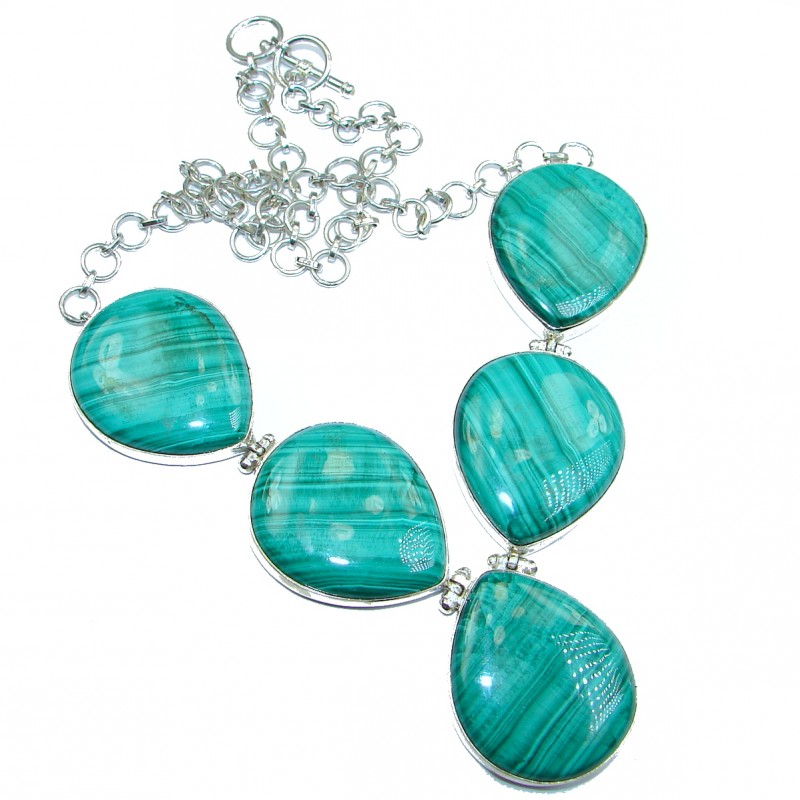 Very Unusual Green Malachite .925 Sterling Silver handmade necklace